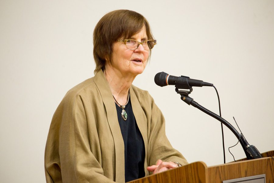 Mayor Elizabeth Tisdahl speaks during a town hall meeting earlier this year. This week, Tisdahl and city manager Wally Bobkiewicz called for City Council members to reaffirm Evanston's support for immigrant rights.