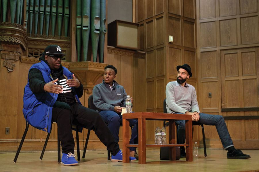 MSA assistant director JT Turner (center) talks with Rapper Kool Moe Dee (left) and Afro-Punk festival creator James Spooner during this year's State of the Black Union. Both artists discussed black representation within the punk and hip-hop communities and the commercialization of both musical genres.