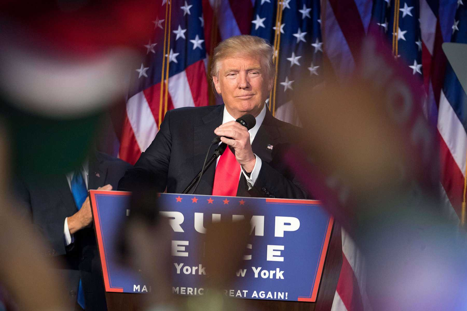 President-elect Donald Trump speaks to supporters at the Election Night Party at the Hilton Midtown Hotel in New York City on Wednesday, Nov. 9, 2016.