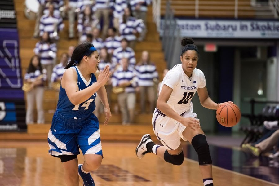 Nia Coffey dribbles down the court. The senior forward scored 30 points to lead Northwestern past Evansville.