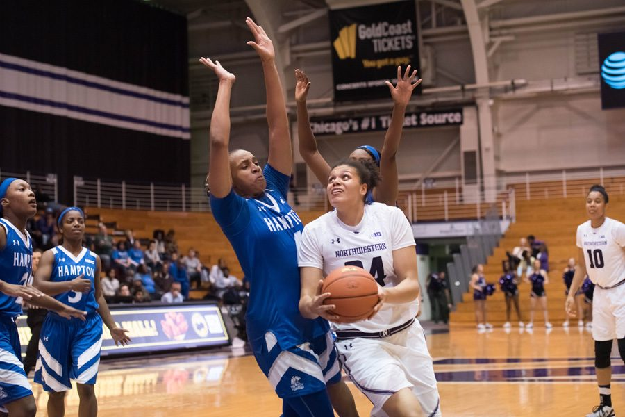 Junior center Oceana Hamilton takes a ball to the hoop. Hamilton figures to be one of the central cogs in Northwestern's frontcourt this season.