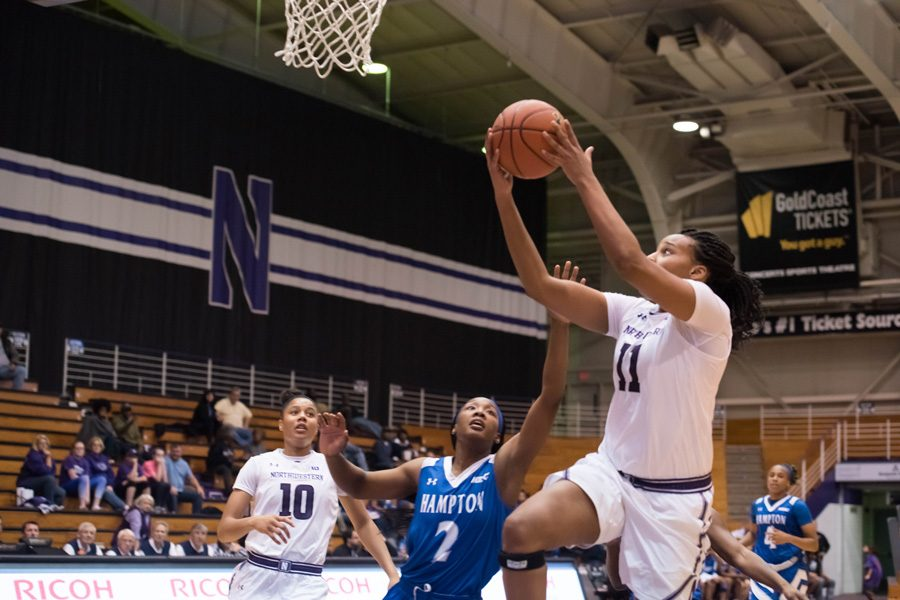 Lauren+Douglas+goes+up+for+a+layup.+The+senior+forward+led+NU+with+18+points+in+a+loss+to+crosstown+rival+DePaul.