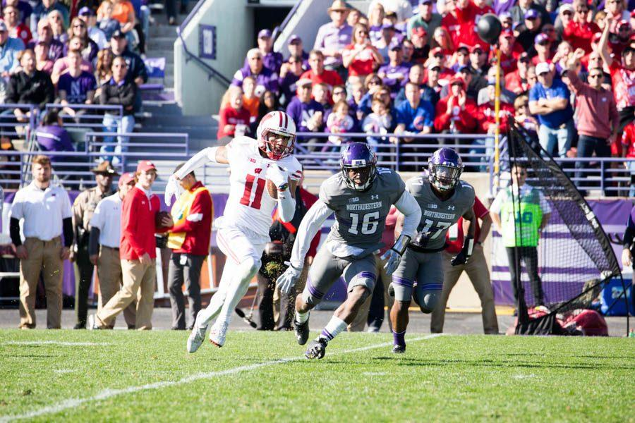 Wisconsin+receiver+Jazz+Peavy+evades+tacklers+on+his+46-yard+end-around+score.+The+Wildcats+had+no+answer+for+the+Badgers%27+running+game%2C+as+Wisconsin+tallied+190+rushing+yards+Saturday.