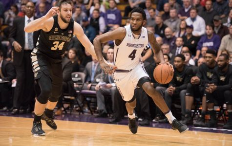 Vic Law takes a defender off the dribble. The sophomore forward scored 8 of his 16 points in the first half against DePaul, helping Northwestern open up a huge lead.