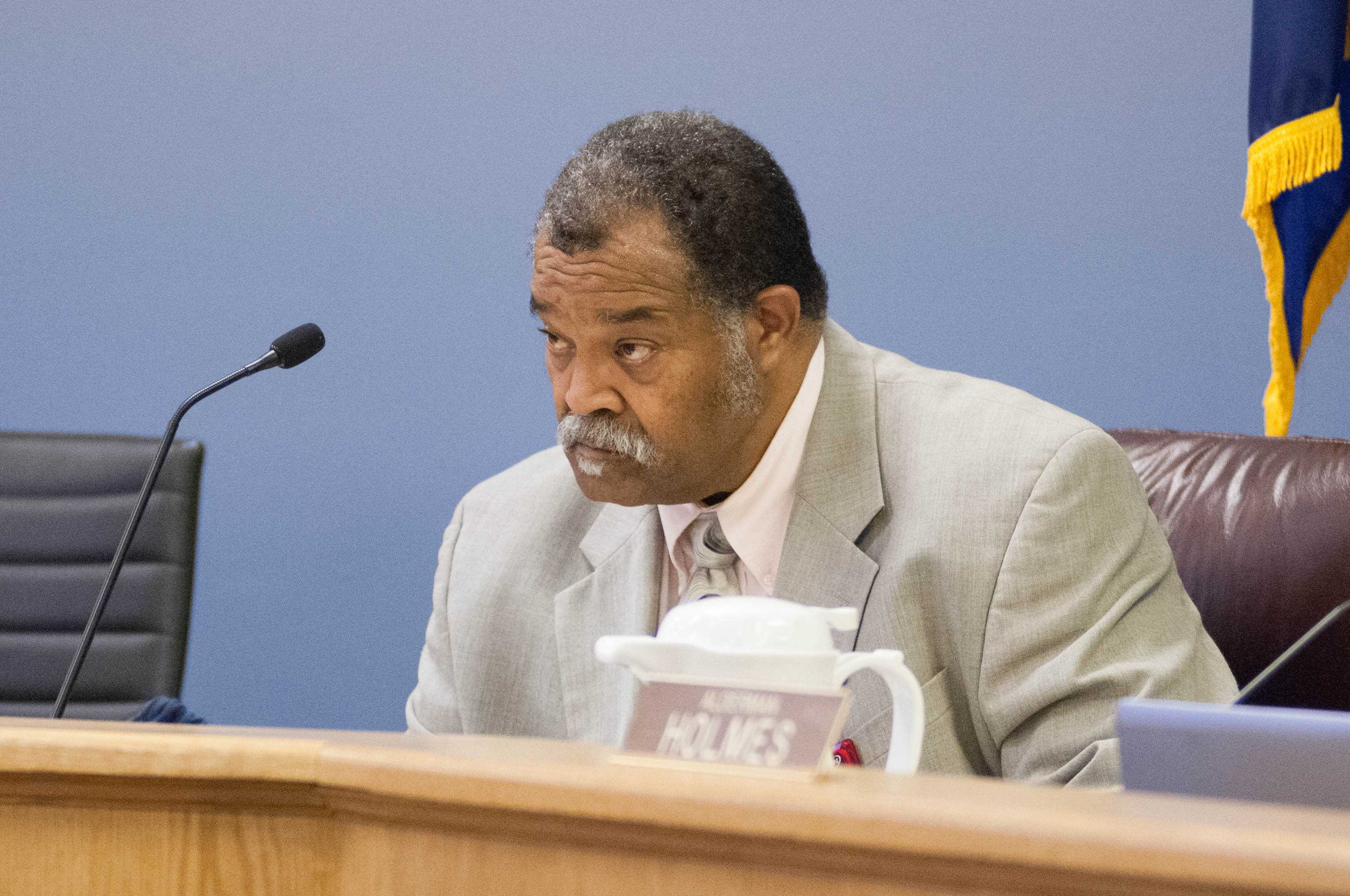 City Clerk Rodney Greene attends a council meeting. Greene fell ill at an electoral board meeting on Friday, resulting in the postponement of a decision on multiple candidate challenges.