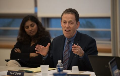 District 65 Superintendent Paul Goren attends a meeting. In response to a parent saying Dewey Elementary School officials mishandled a gun violence threat, Goren defended the work of District 65 senior staff.