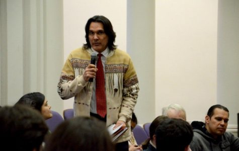 Andrew Johnson, executive director of the American Indian Center of Chicago, speaks at the Native and Indigenous Northwestern Community Forum in 2014. The new Native American and Indigenous Studies Center at Northwestern will collaborate with organizations that serve Native American and indigenous communities in the region.