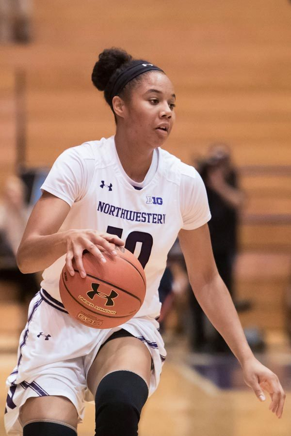 Nia+Coffey+handles+the+ball.+The+senior+hit+the+go-ahead+free+throws+in+the+closing+moments+to+lift+NU+to+victory.