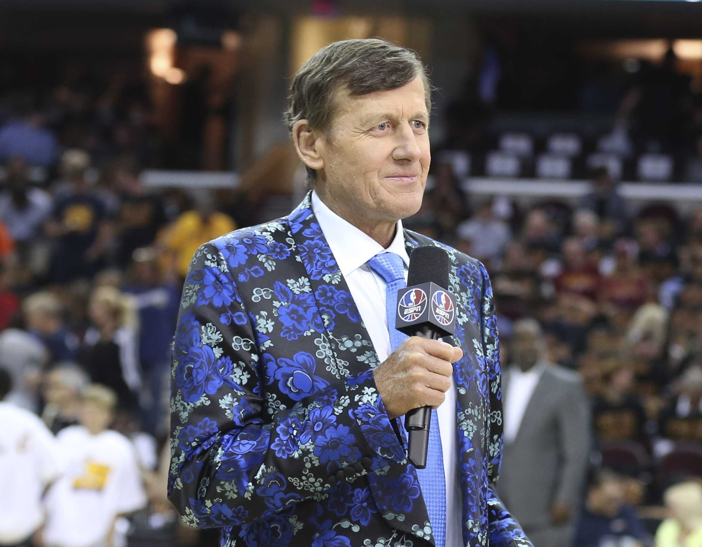 Reporter Craig Sager on the court before the Cleveland Cavaliers take on the Golden State Warriors in Game 6 of the NBA Finals on June 16 in Cleveland.