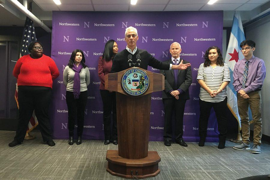 (Marissa Page/Daily Senior Staffer) Chicago Mayor Rahm Emanuel speaks at a celebration of Northwestern Academy for Chicago Public Schools' new location on the Chicago campus. The Academy provides college counseling and other academic services to about 200 CPS students.