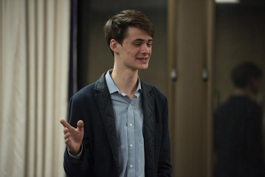 (Allie Goulding/The Daily Northwestern) Weinberg junior Lars Benson introduces a resolution regarding the use and funding of styrofoam in ASG-related events. The Weinberg sophomore, who authored the resolution, presented it at Senate on Wednesday.