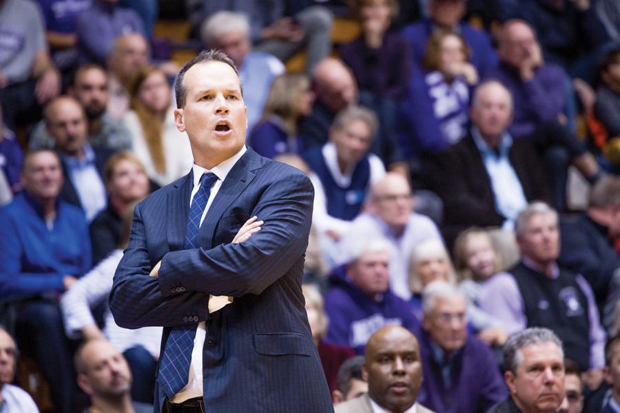 Chris Collins looks on from the sideline. The coach's position was endowed by NU trustees, the school announced Thursday.