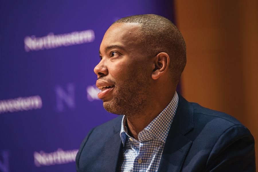 Journalist Ta-Nehisi Coates speaks at Pick-Staiger Concert Hall on Tuesday. Coates and Prof. Mary Pattillo discussed a range of topics, from politics to race to literature, at an event organized by the Contemporary Thought Speaker Series.