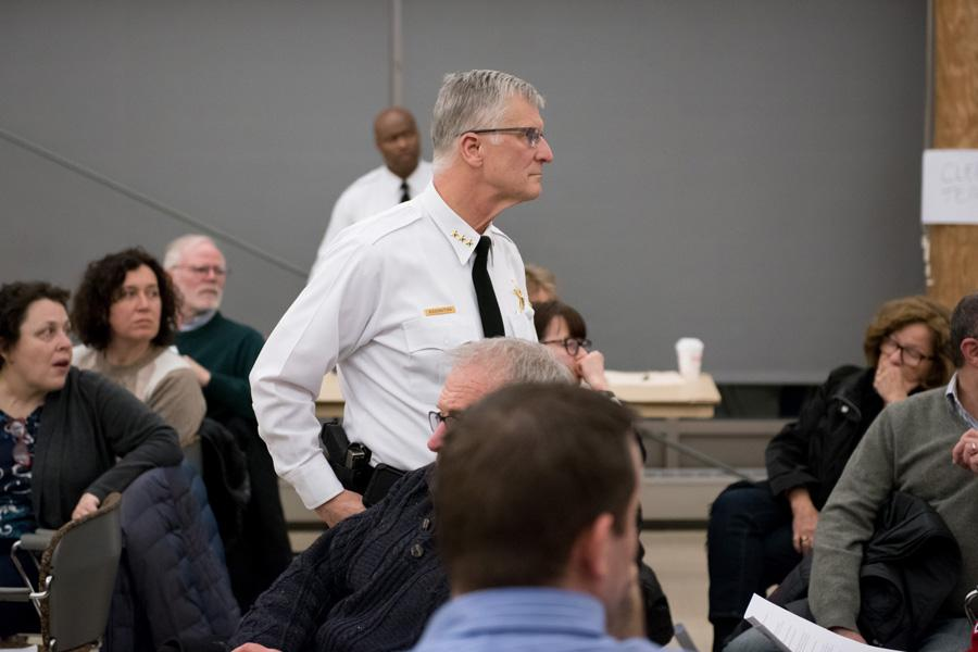 "Evanston Police Chief Richard Eddington answers questions at an EPD community open house Monday night.  Eddington said the city is in a ""handcuffed position"" while it goes through litigation with Lawrence Crosby."