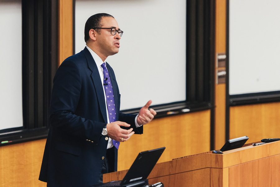 (Noah Frick-Alofs/The Daily Northwestern) Jonathan Holloway, who will become Northwestern's provost in July, addresses Faculty Senate during a Q&A session. Holloway, currently the dean of Yale College, discussed his plans for NU and the importance of liberal arts education.