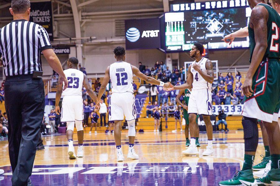 Isiah+Brown+and+Vic+Law+celebrate.+The+duo+combined+for+34+points+in+Northwestern%27s+win+over+Rutgers.