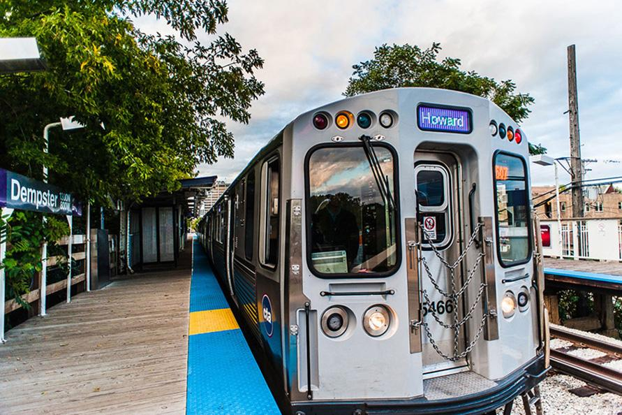 A Purple Line CTA train pulls into the Dempster Street station. On Tuesday, a leaked document appeared to show the Red and Purple Line modernization project as among President Donald Trump's infrastructure priorities.