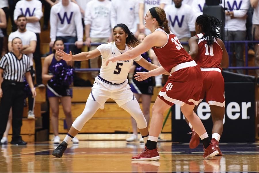 Wearing Jordan Hankins' No. 5, Amber Jamison plays defense. The sophomore has emerged as a key contributor for Northwestern over the past two games.