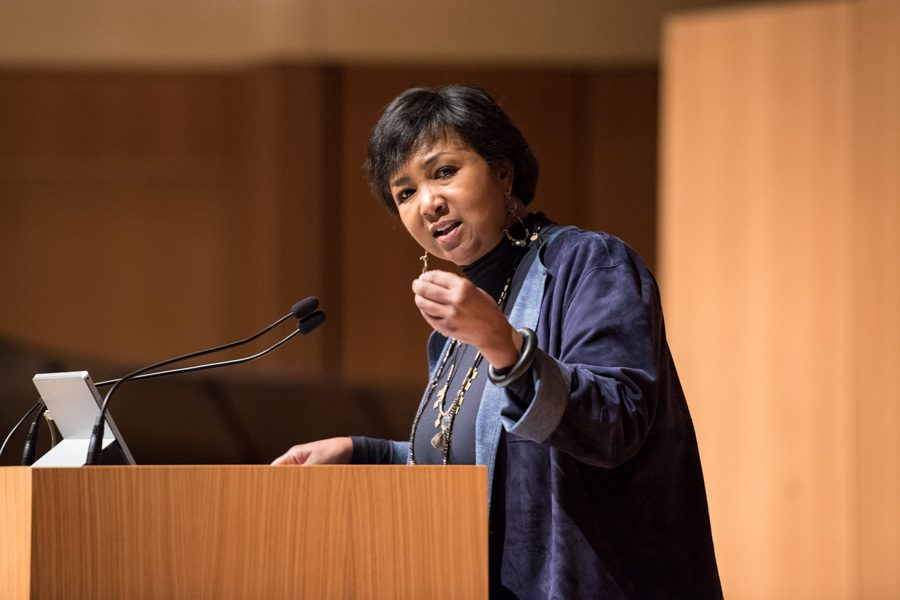 Astronaut+Mae+Jemison+speaks+about+the+need+for+diversity+in+advancing+social+issues+and+scientific+exploration.+Jemison+was+the+first+African-American+woman+in+space+and+the+keynote+speaker+of+Northwestern%E2%80%99s+Martin+Luther+King%2C+Jr.+commemorative+programming.