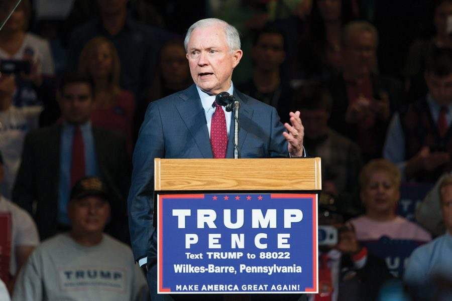U.S.+Senator+Jeff+Sessions+campaigns+for+Donald+Trump+in+October.+Sessions+has+been+offered+the+position+of+attorney+general.