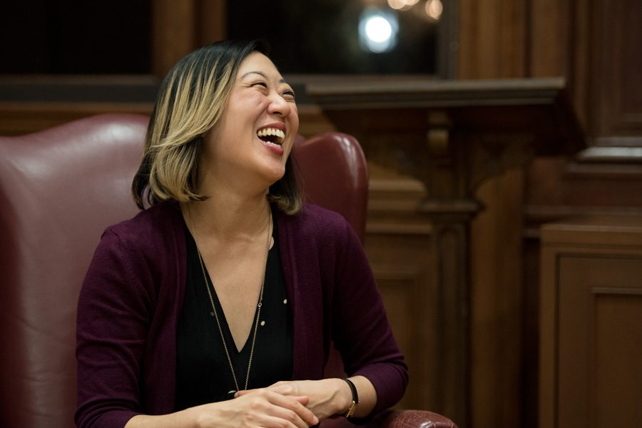 Playwright Young Jean Lee speaks about her creative work and approach to identity politics. Lee addressed more than 50 people Monday in Harris Hall.