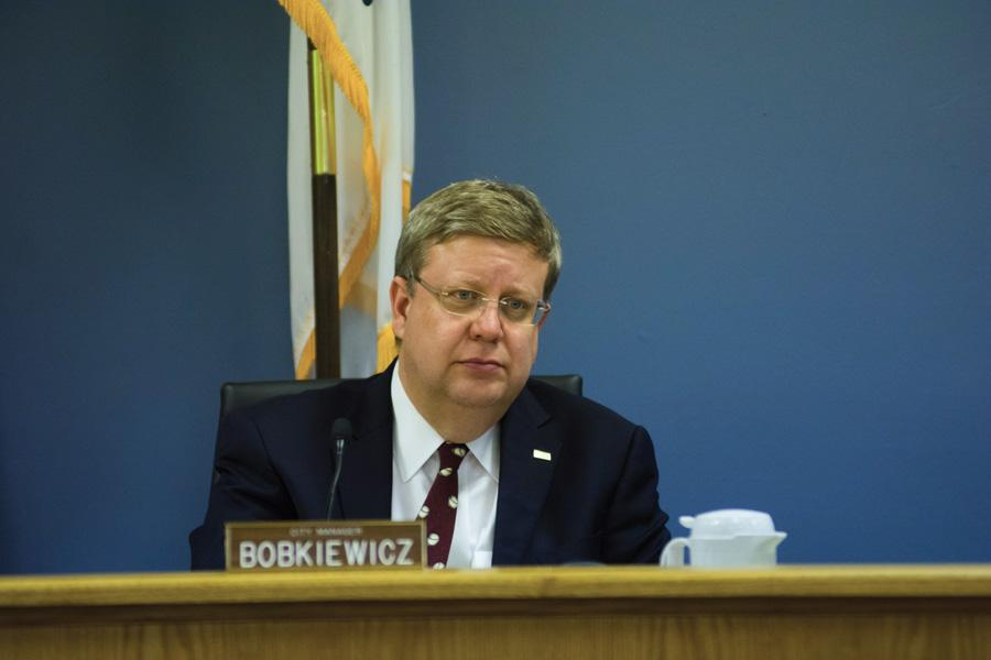 City manager Wally Bobkiewicz attends a city meeting. Bobkiewicz said the city was trying to keep up with current practices in an ordinance passed Monday that changes Evanston Farmers' Market rules.
