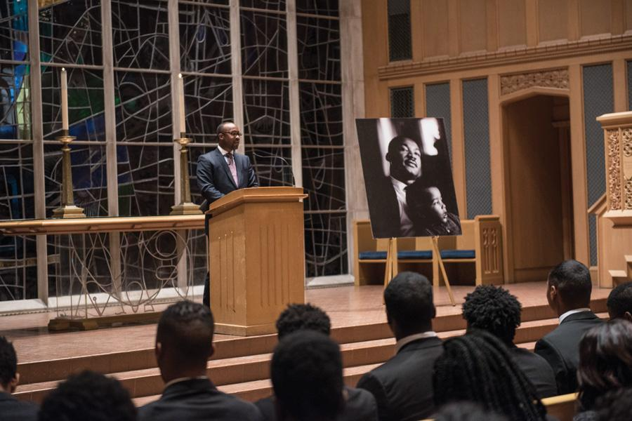 Kellogg Prof. Nicholas Pearce delivers the keynote speech during last year's Martin Luther King Jr. Day Candlelight Vigil. This year's keynote speaker will be Mae Jemison, the first African-American woman to travel to space.