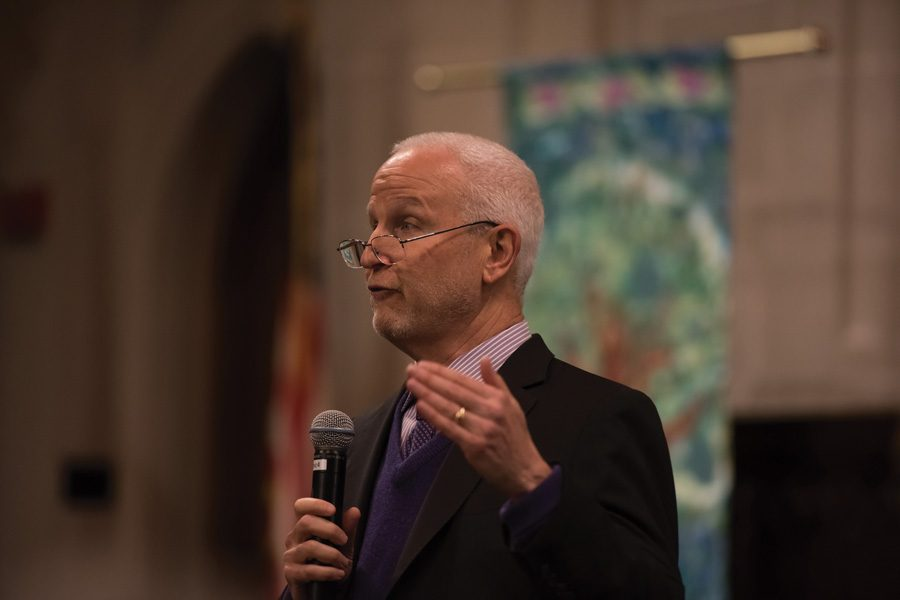 University+President+Morton+Schapiro+addresses+a+crowd+at+Trinity+United+Methodist+Church+in+Wilmette.+Schapiro+discussed+the+importance+of+liberal+arts+education+30+years+after+former+University+President+Arnold+Weber+spoke+on+the+same+topic.