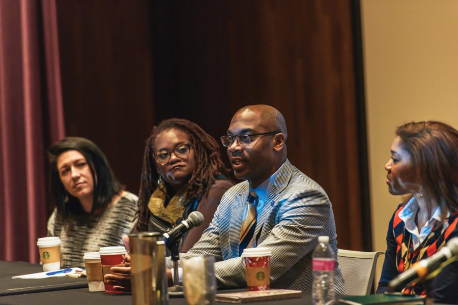 Four+professors+discuss+the+current+state+of+the+Black+Lives+Matter+movement+on+a+seven-person+panel.+The+discussion+was+held+Wednesday+night+as+part+of+two+weeks+of+student-run+Northwestern+Dialogue+programming.