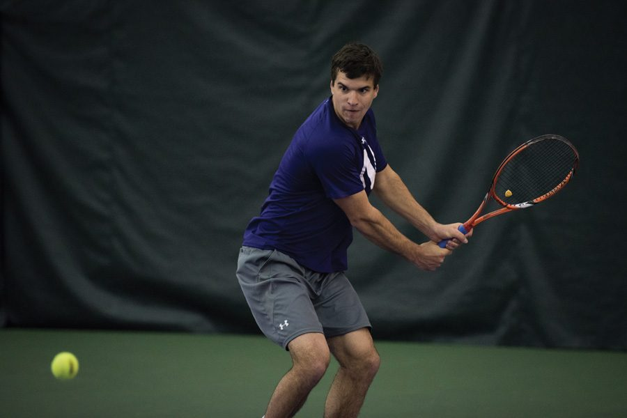 Konrad Zieba hits a backhand. The senior was named the Big Ten Athlete of the Week and will look to lead Northwestern this weekend.