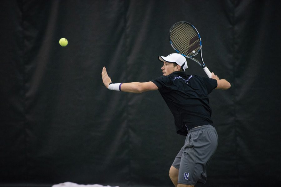 Strong+Kirchheimer+readies+a+forehand.+The+senior+won+regionals+in+the+fall+and+will+look+to+lead+NU+to+new+heights+in+2017.
