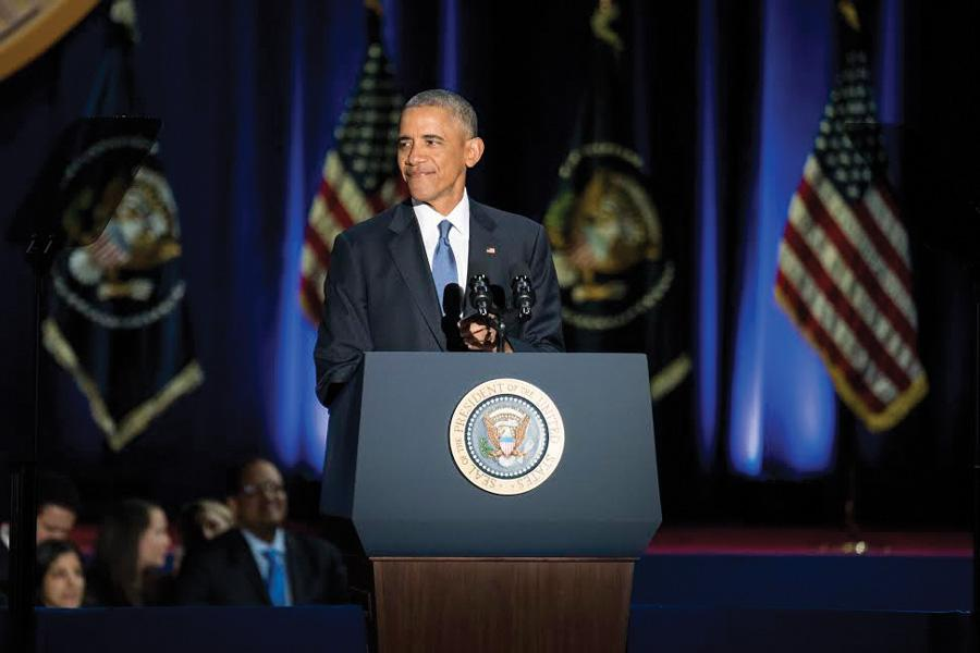 President Barack Obama delivers his Farewell Address at Chicago's McCormick Place on Tuesday evening. In his nearly hourlong speech, Obama implored young people to get involved in the political process.