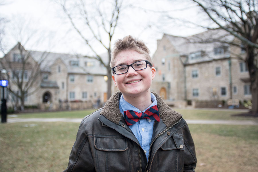 (Colin Boyle/Daily Senior Staffer) Adam Davies, a Weinberg freshman, stands in Northwestern's sorority quad. Davies, who identifies as transgender female-to-male decided to join Northwestern Panhellenic Association's winter recruitment, partly because he wanted to set an example for deconstructing the gender binary in Greek life.