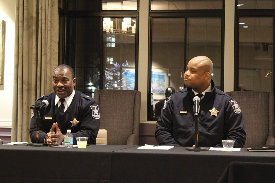 University Police officers Tommye Sutton and Kenneth Jones speak at a panel on the role of police in the Black Lives Matter movement. The event was part of Black Lives Matter, a Northwestern Dialogue.