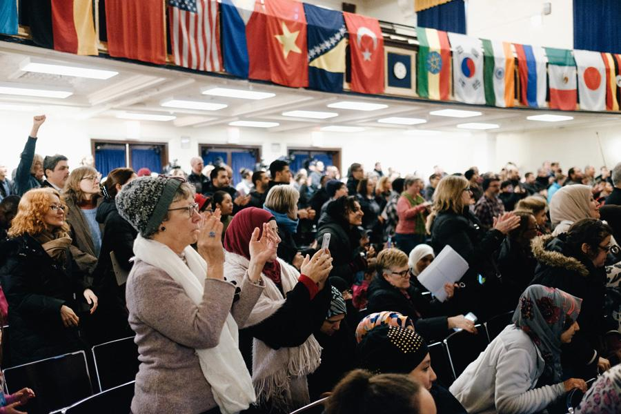 "The crowd at Sullivan High School in Rogers Park cheers during a ""know your right"" event. Sen. Dick Durbin (D-Ill.) said President Donald Trump's recent executive orders on immigration and refugees were a ""miscarriage of justice."""