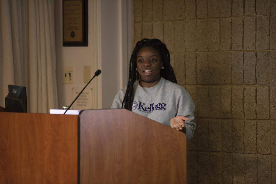 "Communication senior Danielle Harris discusses methods for transforming passive activism into social progress at an event Thursday. ""From Slacktivism to Activism: Combatting Social Inaction"" discussed how to use resources, gain knowledge and get involved in a meaningful manner."