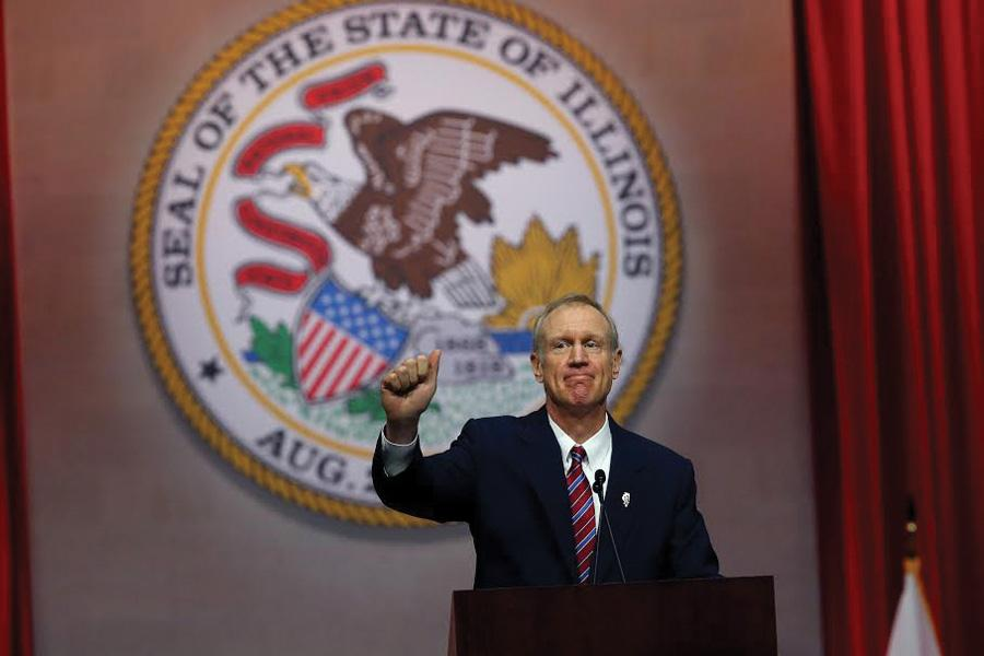 """Gov. Bruce Rauner after his first address as governor in 2015. Rauner urged bipartisan action in his """"State of the State"""" address on Wednesday."""