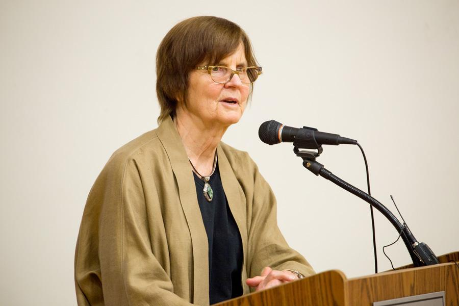 (Daily file photo by Zack Laurence) Mayor Elizabeth Tisdahl speaks at a city event last year. Tisdahl released a statement on Tuesday explaining the decisions reached by the city's electoral board.