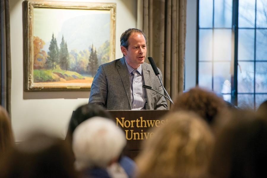 History Prof. Paul Gillingham addresses a crowd at a discussion on President-elect Donald Trump in a global context. The event was hosted by The Buffett Institute for Global Studies.