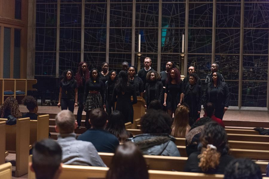 (Jeffrey Wang/Daily Senior Staffer) Northwestern Community Ensemble performs for a candlelight vigil held to honor lives lost due to violence directed toward the black community. The event was part of a two-week series of programming around Black Lives Matter.