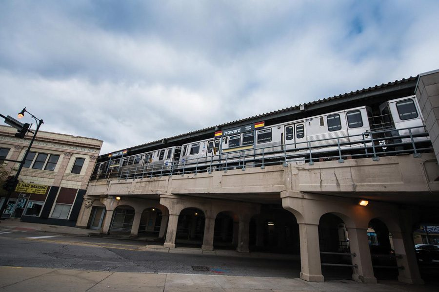 A CTA train rolls over the Howard Street stop in the Eighth Ward. Howard Street has been the site of a city-driven economic revitalization.