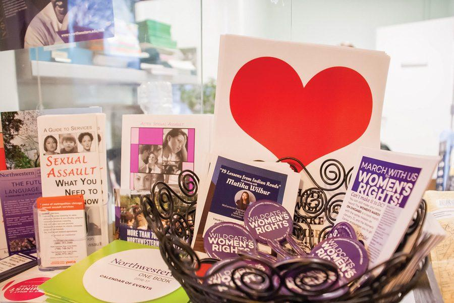 (Katie Pach/The Daily Northwestern) Buttons are available from the Women's Center and various points on campus to express solidarity with the Women's March on Chicago. The Women's Center is encouraging support for the march.