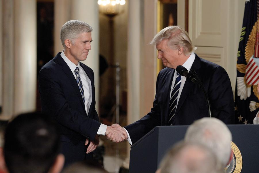 President Donald Trump on Jan. 31 announces Supreme Court nominee Neil Gorsuch in the East Room of the White House. Illinois Democrats in January introduced a bill to protect access to abortion clinics in response to last year's election.