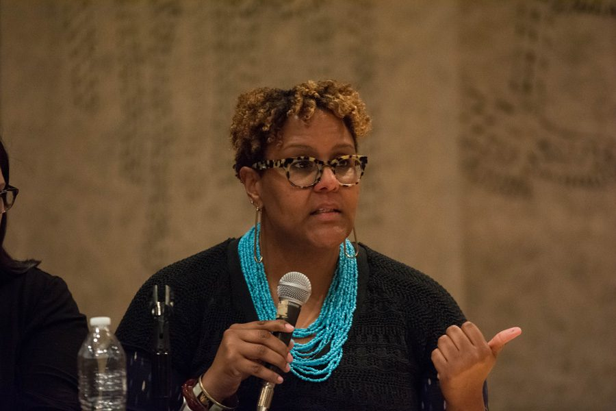 Khadine Bennett speaks at a forum hosted by State Sen. Daniel Biss (D-Evanston) and State Rep. Robyn Gabel (D-Evanston). Panelist told the audience advocacy groups are doubling their efforts to combat policies from the new presidential administration.