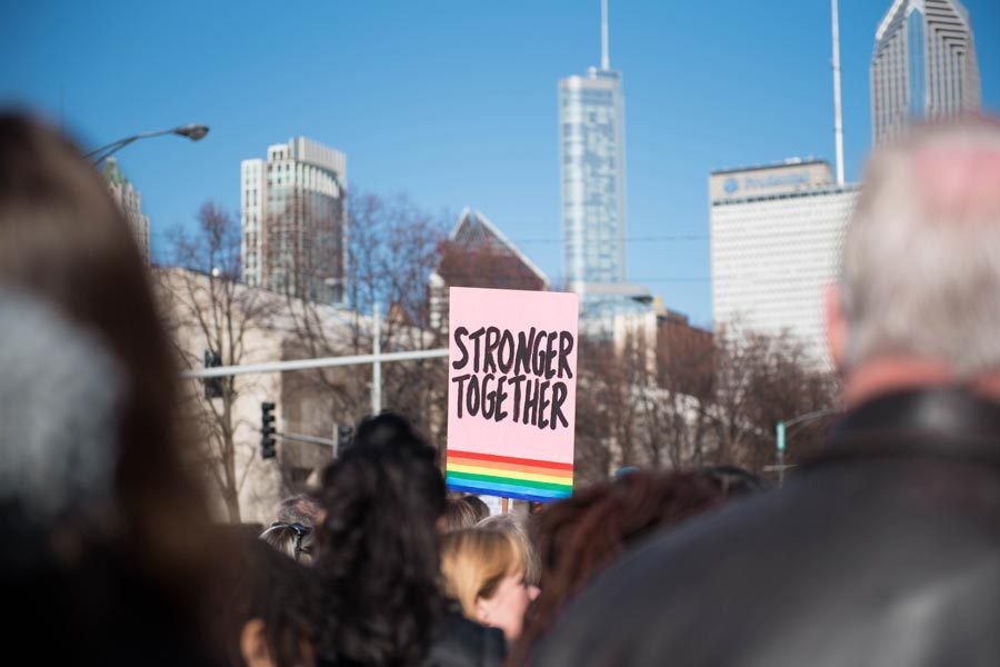 A+sign+at+the+Women%E2%80%99s+March+on+Chicago+last+month+reads+%E2%80%9CStronger+Together.%E2%80%9D+Members+of+the+Evanston+chapter+of+Action+for+a+Better+Tomorrow+attended+the+event.+