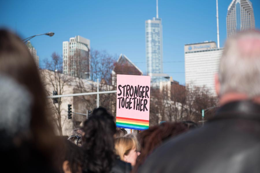 "A sign at the Women's March on Chicago last month reads ""Stronger Together."" Members of the Evanston chapter of Action for a Better Tomorrow attended the event."