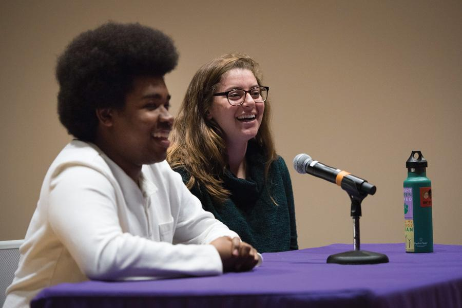 Associated Student Government President Christina Cilento and executive vice president Macs Vinson speak during a Daily-moderated debate last year. Their term will end after elections in early April.