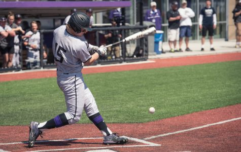Connor Lind hits down the third base line. The junior said Northwestern will move past its disappointing opening series.