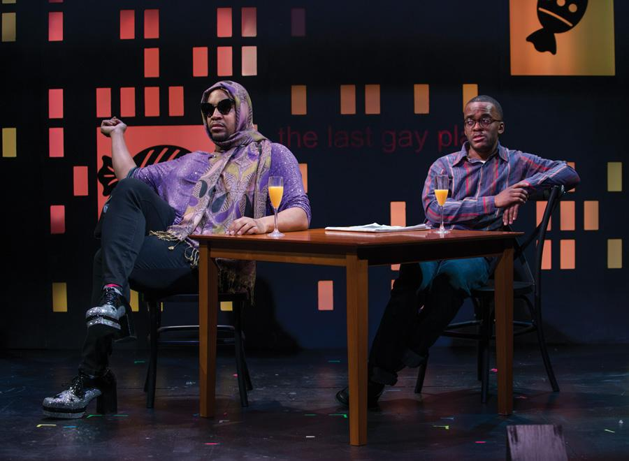 "Osiris Khepera and alumnus Travis Turner (Communication '05) are seated across from each other in ""Bootycandy."" Turner said he hopes the show provokes the audience to discuss the issues presented within the play."