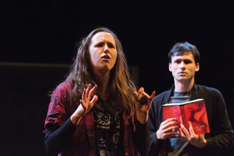 """In """"Columbinus: A Struble Project,"""" actors revisit the 1999 shooting at Columbine High School and portray stereotypical high school archetypes such as Rebel (pictured), Jock and Loner. The play emphasizes the importance of monitoring mental health and social isolation in adolescents."""